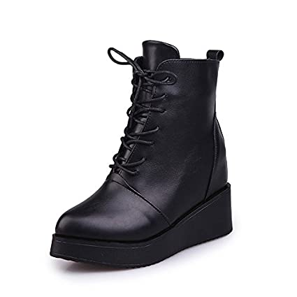 Women's Boots Formal Shoes Fall PU Walking Shoes Casual Dress Lace-up Wedge Heel Black 3in-3 3/4in WKIDWX
