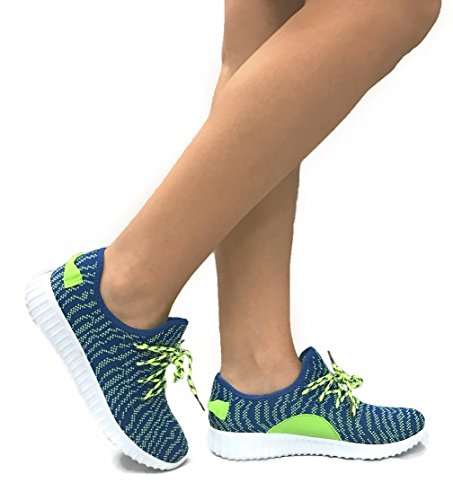 Sneakers Womens The Mesh Jill Casual Collection Neon Fashion Breathable Shoes Athletic Blue rzzT8