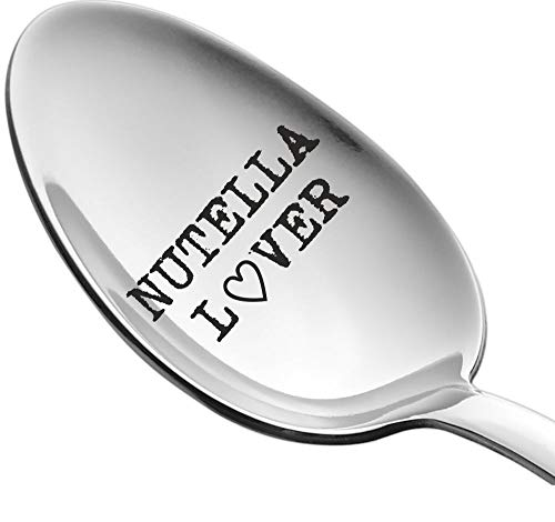 Engraved Spoon Nutella Lover by Weenca - Sturdy Long Handle Spoon - Simple and Elegant with a Mirror Finish - Long Lasting Inscription - Hard to Bend (Nutella Spoon)