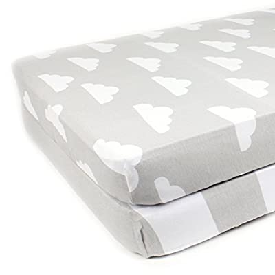 """Fitted Cotton Crib Sheets 2 Pack """"Stripes & Clouds"""" by Mumby"""