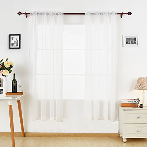 Deconovo Linen Look Sheer Curtains 63 Sheer Rod Pocket Window Curtain 60W x 63L for Kitchen White Set of 2