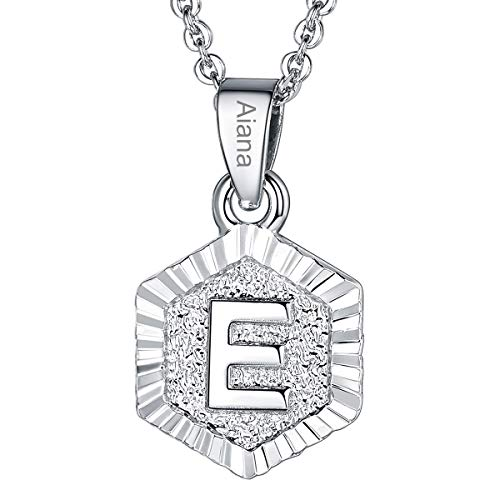 Custom Name Necklace A-Z 26 Letters Pendants Platinum Plated Hexagon Script Monogram Initial Jewelry Stainless Steel 20 Inch Chain, Capital Alphabet Personalized Gifts for Women Girls (Letter E)