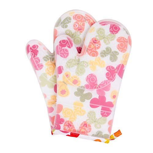 UJoowalk Transparent Clear Silicone Butterfly Printing Oven Mitts Cotton Lining Waterproof Washable Non-Slip Mitts Heat Resistant Gloves with Quilted Liner for Cooking (Farm Flower, Oven Mitts) ()