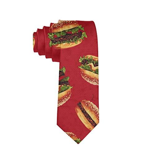 Men Tie Fashion Neckties Funny red Hamburger necktie Polyester Silk Novelty Neck Tie - One Size