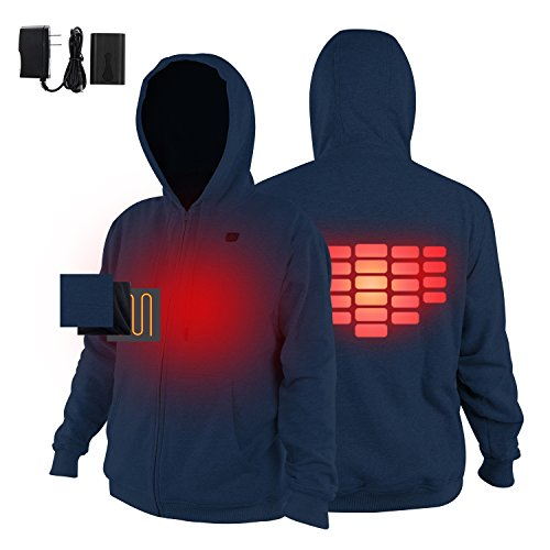 Men's Heated Hoodie Kit,Outdoor Sport Work Heated Hoodies with Battery,Charger,7.4V