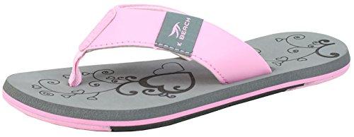 BOCKSTIEGEL Chanclas para hombres y mujeres | Varios diseños | Zapatillas de ducha | Suela antideslizante KATRIN - Gris - Rosa