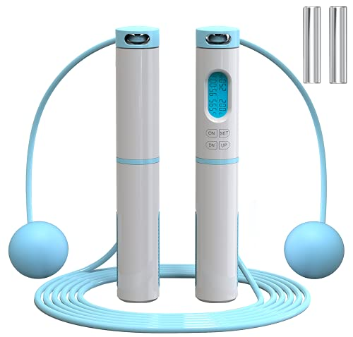 Jump Rope Counter , Cordless Adjustable Skipping Rope , Weighted Jump Rope for Men , Women,Adult,Working out,Exercise,Fitness,Gym Blue