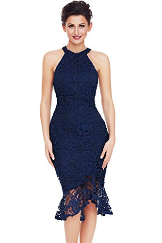 Volants one Bleu Dress Party Jupe En Femmes Manches Bodycon Midi Dentelle Gilet Fishtail Z Cocktail Sans 0nqwxZqd