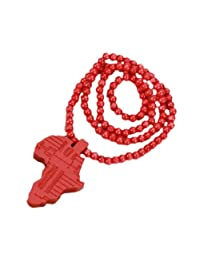 Beautiful Bead Hiphop Style Wooden African Continent Map Shaped Pendant Beaded Charm Necklace