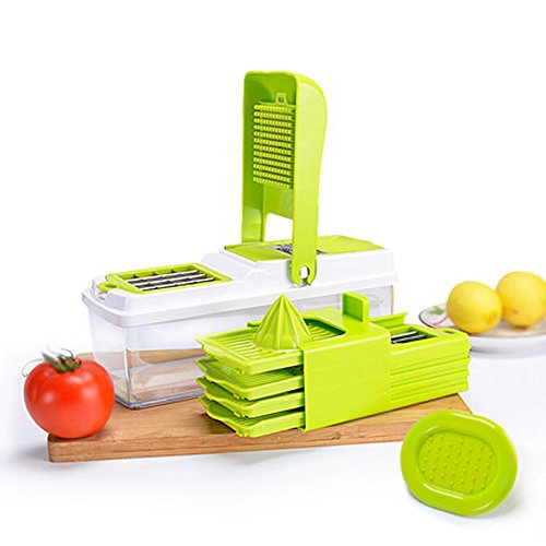 Vegetable Slicer Dicer, Mandoline Food Chopper Cuber Cutter ,10 in 1 Cheese Grater Multi Blades for Onion Potato Tomato Fruit Extra Lemon Squeezer Included,Green