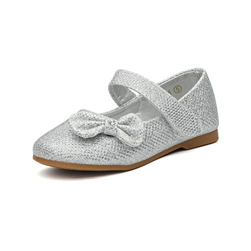DREAM PAIRS Angel-5 Adorable Mary Jane Side Bow Buckle Strap Ballerina Flat (Toddler/Little Girl) New Silver-Glitter Size ()