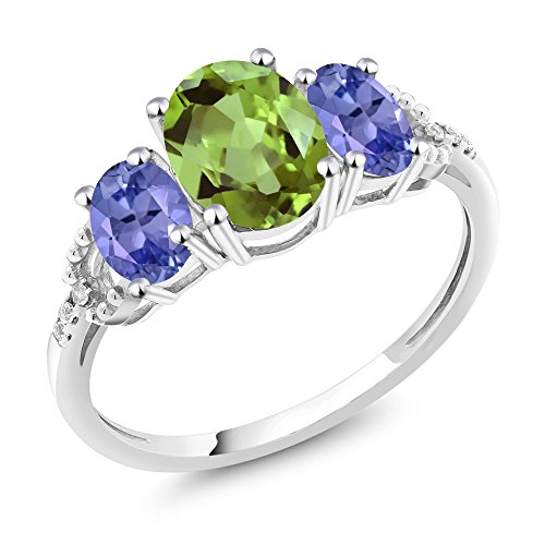 10K White Gold 2.28 Ct Oval Green Peridot