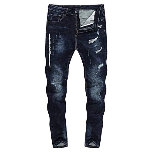 Thick Pantaloni Da 28 Size Jeans color Gamba Biker Stretch Battercake Strappati 3127 Neri Comodo Dritta Zlh A Uomo 2018 w8qtn
