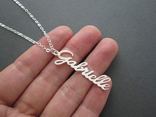 Personalized Vertical Name Necklaces Pendants Stainless Steel Collares Largos De Moda 2018 Custom Nameplate Long Collier Femme - (Lowercase Letters, Main Stone Color: Rose Gold Color, Length: 50CM)