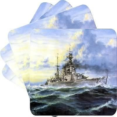 - New Set of 4 Battle Cruiser Hms Hood Square Coasters