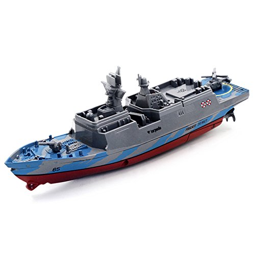 Zlimio RC Boat 2.4GHz RemoteControl Ship for Kid Bathtub Pool Lake, Racing 4 Channels Electric Warship, Blue/Gray/Silver/Navy