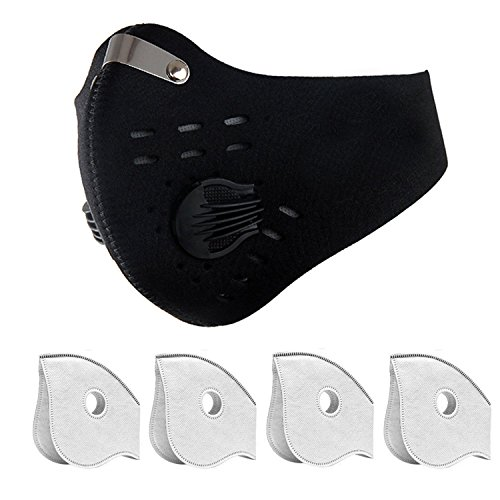 Gizhome Dust Masks, Dustproof Masks with Filter Fitness Mask, Cycling Mask against Asthma, Pollen Allergies, Contains 4 Extra Activated Carbon Filters for Men Women Outdoor Activities - Black by Gizhome