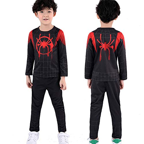 Shancon 2018 Black Spider Cosplay Costume T-Shirts Pants Set for Kids Accessories Props Halloween Size 130 -
