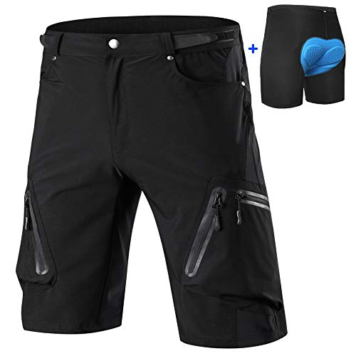 Cycorld Men's-Mountain-Cycling-Biking-Padded-MTB-Shorts (Black and Underwear, 2XL(Waist:34.5