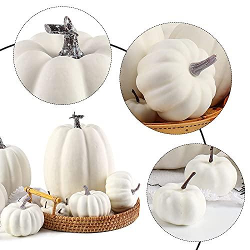 DomeStar Artificial Pumpkins, 14PCS White Fake Pumpkins Assorted Pumpkins Faux Pumpkins Farmhouse Pumpkins for Halloween Thanksgiving Decorations