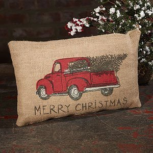 """MERRY CHRISTMAS Red Pickup Truck Burlap Pillow, 12"""" x 8"""", Co"""