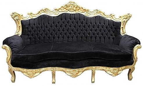 casa padrino barock 3er sofa master schwarz gold wohnzimmer couch mbel lounge - Wohnzimmer Schwarz Gold
