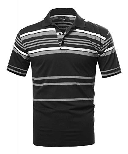 Hawks Bay Stripe Polo Jersey Black X-Large