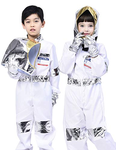 Kids Astronaut Costume,Classic Space Coats Pretend Play Outfit with Accessories (5pcs) 3-4T -