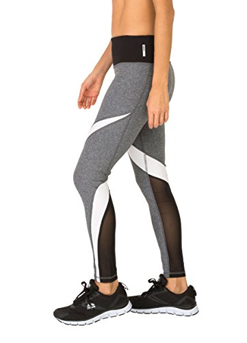 RBX Active Women's Splice Colorblock Leggings with Mesh Charcoal Grey L