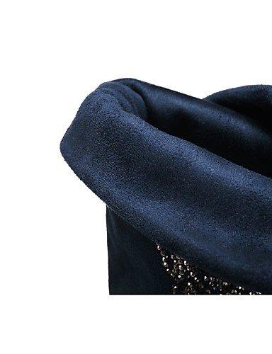 XZZ  - Damenschuhe - Stiefel -  Outddor   Büro   Kleid   Lässig - Kunst-Veloursleder - Flacher Absatz - Rundeschuh   Geschlossene Zehe -Schwarz   f9fdd9