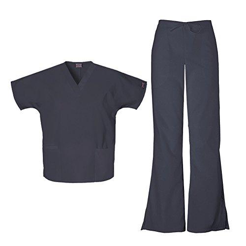 Cherokee Women's Workwear Top 4700 & Flare Leg Drawstring Pant 4101 Scrub Set (Pewter - X-Large / XL Petite)