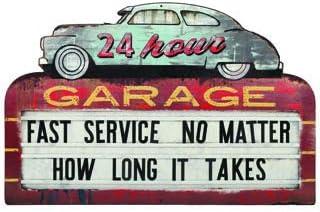Open Road Brands 24 Hour Garage Metal Sign