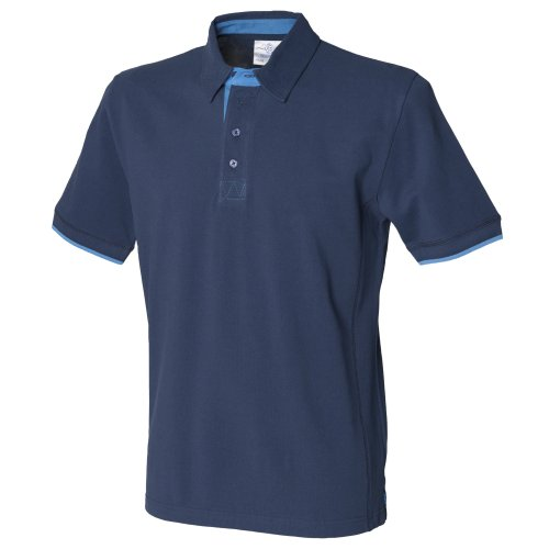 Front Row Mens Contrast Pique Polo Shirt (2XL) (Navy/Marine) (Pique Rugby Cotton)
