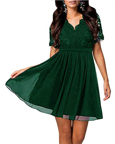 Yikomi Women's Short Sleeve V-Neck Lace Floral Cocktail Wedding Party Dress K11 (M, Dark Green) ()