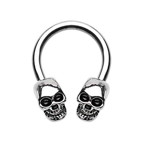 (16 GA/14 GA Skull Head Horseshoe Circular Barbell (Davana Enterprises) (14 GA))