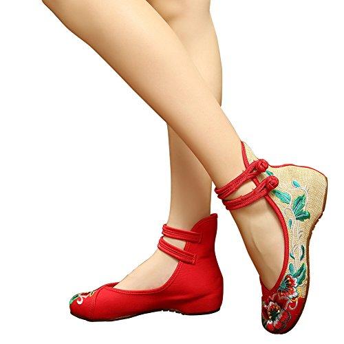 Hecater Kvinna Kinesiska Blommor Broderade Skor Med Remmar Ballerina Balett Cheongsam Skor Röd