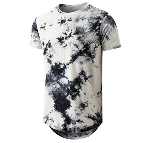 Mens Hip Hop Tie-Dyed Hipster Curve Hem T Shirt (XX-Large, White 2)