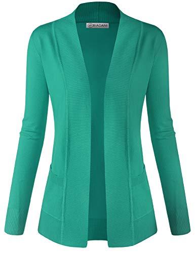BIADANI Women Classic Soft Long Sleeve Open Front Cardigan Sweater Dark Green Medium ()