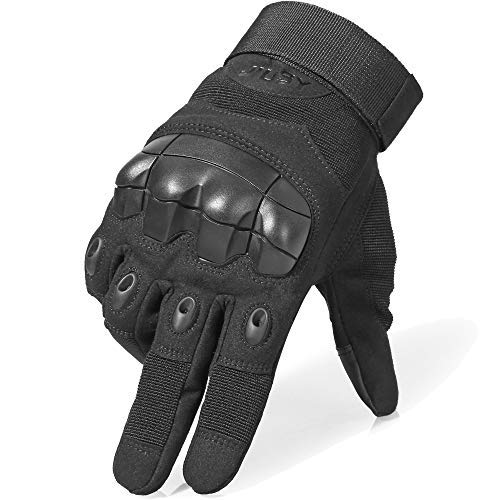 WTACTFUL Touch Screen Military Rubber Hard Knuckle Tactical Gloves Full Finger Airsoft Paintball Outdoor Army Gear Sports Cycling Motorcycle Riding Shooting Hunting Size X-Large Black