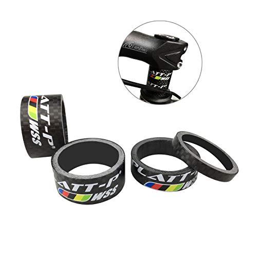 Carbon Fiber 1 1/8 Inch Headset - Platt Bike Headset Spacer Full Carbon Fiber Bicycle Stem Headset Spacer Fit 1 1/8-Inch Compatible with MTB Bike Road Bikes (Matte)