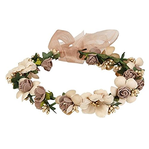 WLFY Women Girls Flower Headbands Crown Wedding Bridal Hair Wreath Floral Headband Garland (Coffee)