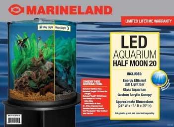 AML11536 Glass Half Moon Shaped Aquarium with LED Lighting, 20-Gallon (20 Gallon Glass)