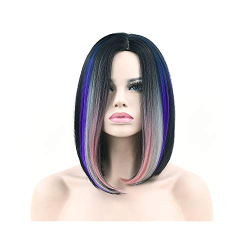 10 Colors Synthetic Hair Ombre Grey Hair Bob Style Short Wigs for Black Women Party Cosplay Wig ()