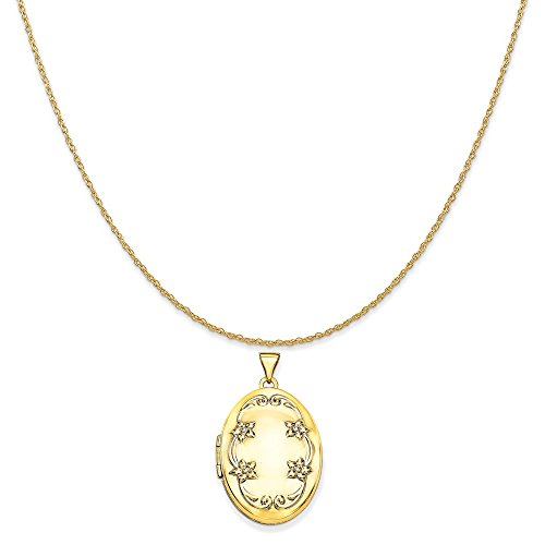 Mireval 14k Yellow Gold 26mm Oval Floral Scroll Border Locket Pendant on 14K Yellow Gold Rope Necklace, 18