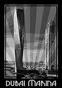 Photo Of Dubai Marina- Black And White, Mounted (a2)