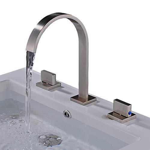 Rozin Brushed Nickel Widespread 3pcs Bathroom Sink Faucet Double Knobs Basin Vanity Mixer Tap