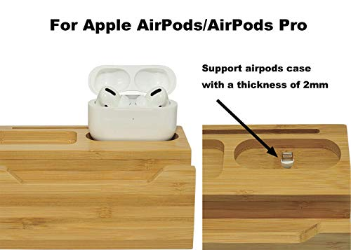 BoxThink Charging Station Apple Watch Airpods Charger Stand iphone Charging Dock Cable Management Wood Charging Station with 3 USB Ports Compatible with AirPods/Apple Watch Series3/2/1/iPhone
