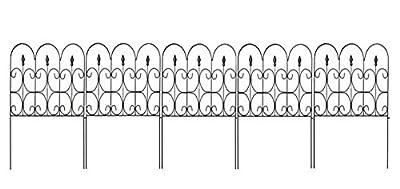 """Amagabeli 32"""" x 24"""" x 5 Panels Victorian Fleur De Lis Steel Garden Patio Yard Furnishing Landscape Plants Border Fence Panels, One Section"""