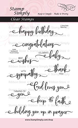 Stamp Simply Clear Stamps Farmhouse All Occasion Greetings and Sentiments Christian Religious 4x6 Inch Sheet - 10 Pieces -