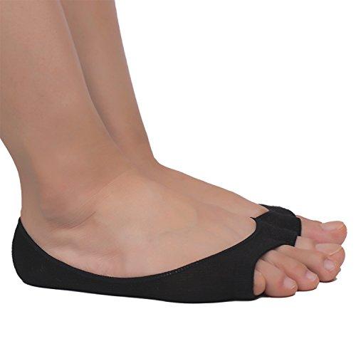 Toe Peep Heels Black (Flammi 3 Pairs Women's Summer Peep Toe Socks Hidden Socks with Nonslip Heel Grip (Black))